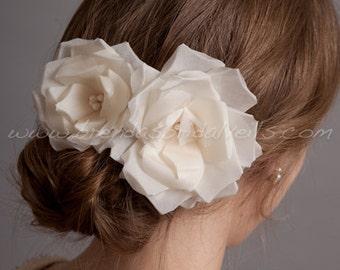 Bridal Hair Flower 2 Piece Set, Hand Pressed Silk Roses, Birdcage Veil Fascinators - Rosalena Head Piece