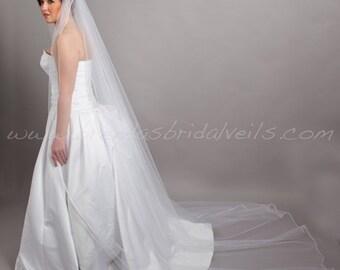 Bridal Veil Single Layer- Satin Cord Edge Veil-Wedding Veil - Diana