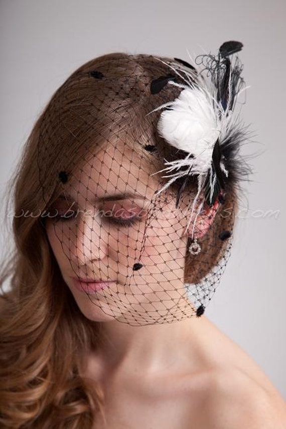 Bridal Birdcage Veil Black Chenille Dot Wedge with Kenya Head Piece Wedding Birdcage Feather Fascinator