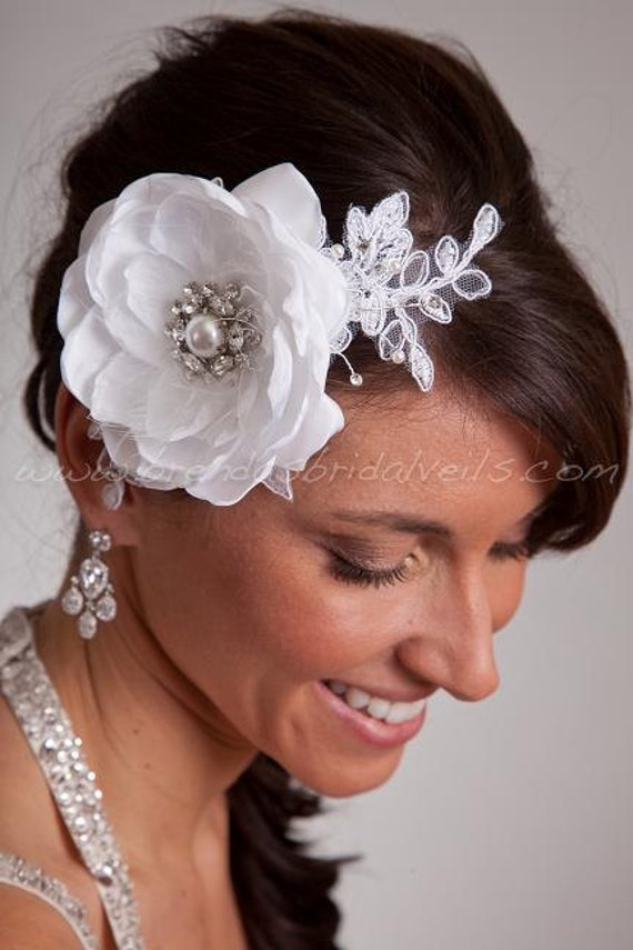 Wedding Flower Fascinator, Taffeta Flower and Lace Accent, Bridal Flower, White, Diamond White, Ivory - Starr