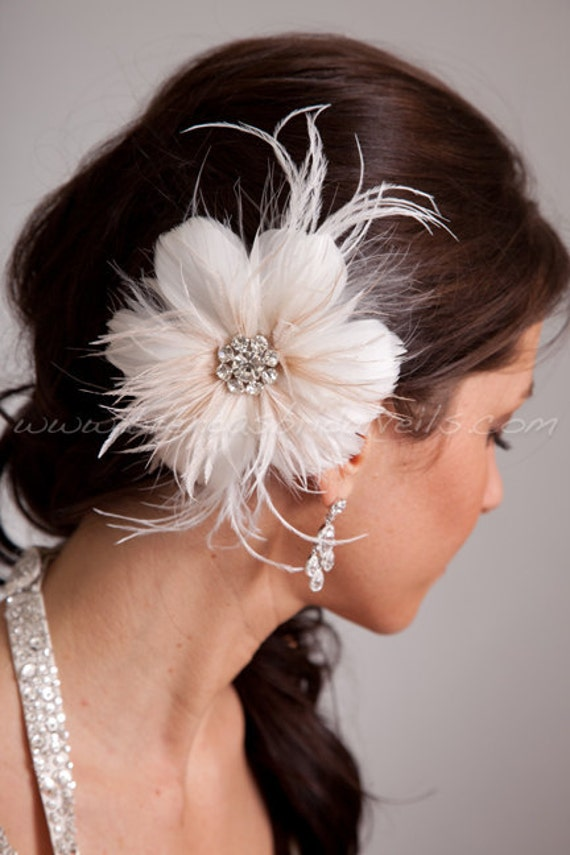 Bridal Feather Hair Piece, Soft White or Light Ivory, Champagne Streamers, Swarovski Rhinestone Center, Birdcage Fascinator  - Estelle
