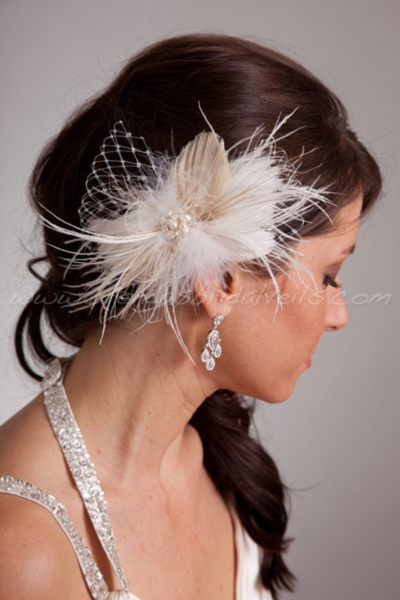 Ivory Feather Birdcage Fascinator with Champagne Peacock Eye and Fresh Water Pearl and Rhinestone Center - Takoda
