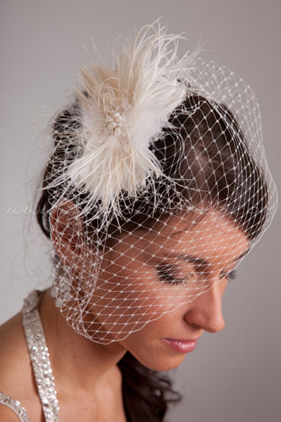 Ivory Birdcage Veil, Wedge Birdcage Veil, Wedding veil, with Detachable Peacock & Ostrich Feather Headpiece-Ivory, Champagne