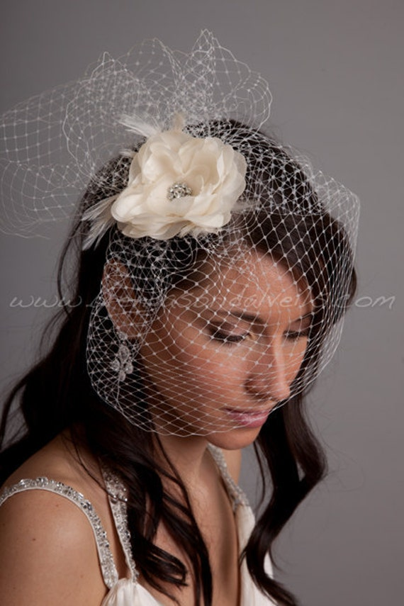 "Bridal Birdcage Veil Set, 9"" Veil with Fly-Away Netting and Hand Pressed Silk Flower Fascinator, Wedding Veil Set"