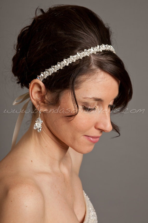 ribbon tie on headband marquise and round cut rhinestones wedding