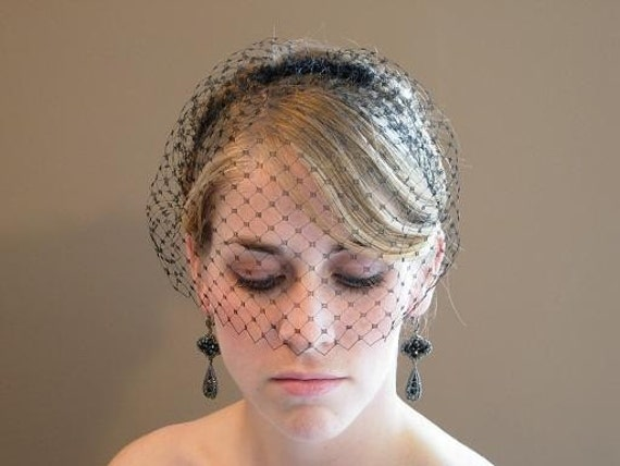Black Short Blusher Birdcage Veil English Netting On Comb