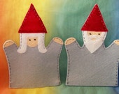 set of 2 toddler-size wool felt puppets - GNOME SET