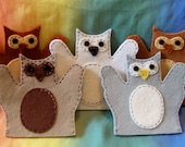 set of 5 toddler-size wool felt puppets - OWL SET