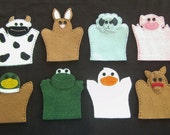 set of 8 toddler-size wool felt puppets - FARM SET 1