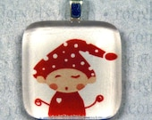 Winking Christmas Elf (Red) Glass Pendant BUY THREE GET ONE FREE