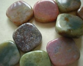 Moss Agate - 1 inch square beads