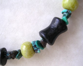 Blackstone/Serpentine/Turquoise Bracelet