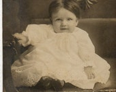 Brown Haired Baby Girl vintage photo postcard