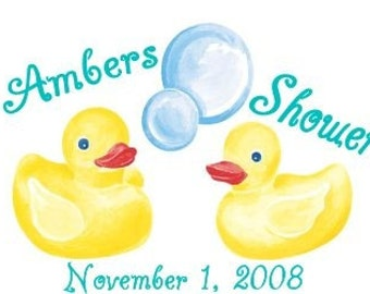 Rubber Duck baby shower favor tags, name cards