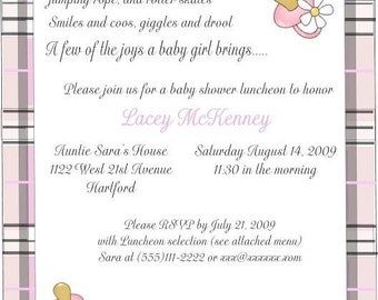 Adorable plaid baby shower invitations- Customized for you