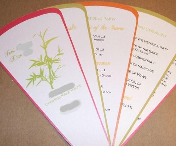 Personalized Custom Wedding Programs- 5 blade fan style with ribbon trim