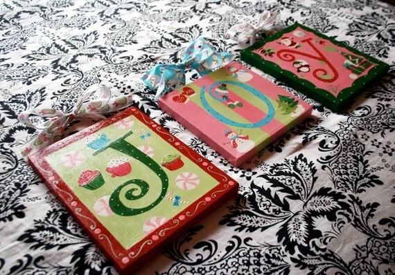 Custom Hand Painted Holiday Wall Letters (Tiffani)
