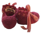 Rose Booties with Pink Velvet Ribbon