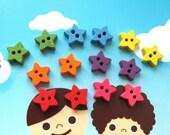 Kawaii MINI Rainbow Wooden Stars Sewing Sew On Buttons Set - 14's