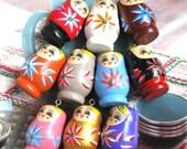 BIG Colorful Wooden Matryoshka Russian Doll Bag Necklace Purse Charm 10's LAST SET