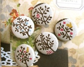 Fabric Buttons,  Beige Woodland Animals Forest Tree Flower Fabric Buttons, Animal Tree Fridge Magnets, Flat Backs, 1.25 Inches 5's