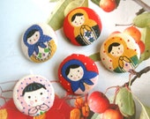 Fabric Buttons, Big Red Yellow Pink Cream Matryoshka Russian Doll Fabric Covered Buttons, Matryoshka Russian Doll Magnets, 1.5 Inches 5's
