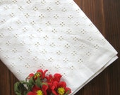 Cotton Eyelet Fabric Cloth - Off White Embroidered Square Checks Flower Floral Lace Eyelet Cotton Fabric Cloth 42 x 19 Inches - Ophelia
