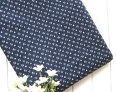 Cotton Fabric - Dark Navy Blue White Stars Nautical Marine Anchor Fabric Cloth 60 x 30 Inches LAST PIECE