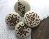 Beige Brown Retro Floral Flower Motif Handmade Cloth Fabric Buttons 1.25 Inch 4's