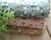 Cotton Fabric Cloth - Pink Blue Brown White Spring Floral Flower FAT QUARTERS Cotton Linen Fabric 3's 26 x 18 inches