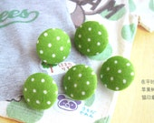 Fabric Buttons, Retro Lime Light Green White Polka Dots Fabric Covered Buttons, Polka Dots Fridge Magnets, Flat Backs, 5's CHOOSE SIZE 5's