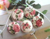 Handmade Country Rustic White Pink Rose Floral Flower Fabric Covered Buttons, Country Pink Roses Floral Fridge Magnets, 1.2 Inches 5's