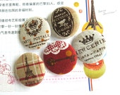 """Handmade Large Country Red Beige Brown France Paris Eiffel Tower Postal Airmail Travel Fabric Covered Button Fridge Magnet, 1.25"""" 5's"""