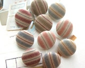 Handmade Country Rustic Nautical Country Stripes Blue Red Beige Fabric Covered Buttons Fridge Magnets, CHOOSE SIZE 10's