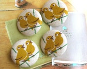 Handmade Country Rustic Large Beige Yellow Bird Animal Fabric Covered Buttons, Birds Fridge Magnets, 1.5 Inches 4's