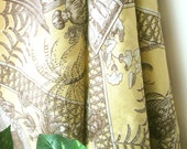 Linen Fabric - Elegant Yellow Brown Floral Turkish Gardn Linen Fabric Cloth 56 x 36 Inches / 1 yard