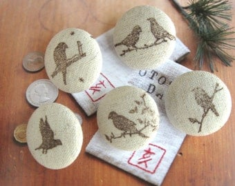 Handmade Country Rustic Beige Brown Birds Fabric Covered Buttons, Birds Fridge Magnets, Flat Backs, 1.1 Inches 5's