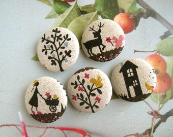 "Handmade Retro Beige Black Woodlands Animal Forest Deer Fabric Covered Buttons, Woodlands Fridge Magnets, Flat Backs, 1.25 "" 5's"
