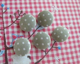 Fabric Buttons, Retro Gray Grey White Polka Dots Fabric Covered Buttons, Polka Dots Fridge Magnet, Flat Back, 5's CHOOSE SIZE 5's
