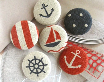 """Handmade Large Nautical Marine Navy Blue Red Beige Boat Anchor Ship Polka Dots Fabric Covered Buttons Fridge Magnets, Flat Back, 1.2"""" 6's"""