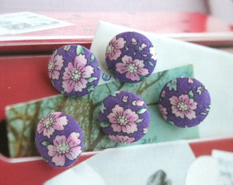 Handmade Country Purple Pink Floral Flower Fabric Covered Button, Purple Pink Floral Flower Fridge Magnets, Flat Backs, CHOOSE SIZE 5's