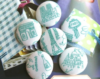 "Handmade Large Retro White Aqua Blue Holiday Travel Paris Tour Eiffel Fabric Covered Buttons, Paris Travel Fridge Magnets, 1.25"" 6's"
