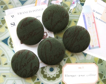Fabric Buttons, Large Retro Dark Green Brown French Script Word Fabric Covered Buttons, French Script Fridge Magnets, 1.25 Inches 5's