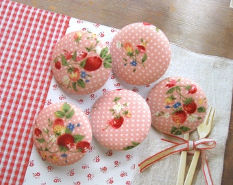 Fabric Buttons, Retro Pink Dots Strawberry Floral Flower Fabric Covered Buttons, Retro Floral Fridge Magnets, Flat Backs, 1.2 Inches 5's