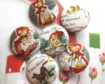 Fabric Buttons, Gray Grey White Little Red Riding Hood Fabric Covered Buttons, Little Red Riding Hood Fridge Magnets, Flat Back, 1.25' 6's