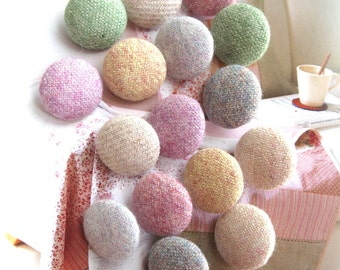 Pastel Green Gray Orange Pink Beige Plain Fleece Fabric Covered Buttons, Flat Backs, Pastel Buttons, CHOOSE COLOR SIZE 5's