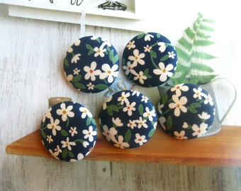 Handmade Country Rustic Dark Blue White Floral Flower Fabric Covered Buttons, Dark Blue White Floral Fridge Magnets, CHOOSE SIZE 5's