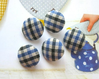 Fabric Buttons, Retro Country Navy Blue White Gingham Checks Fabric Covered Buttons, Flat Backs, Country Checks Magnets, CHOOSE SIZE 5's