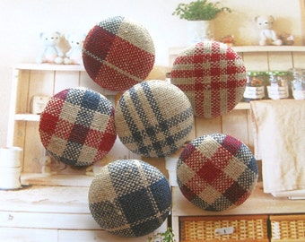 Handmade Country Rustic Red Blue Beige Plaid Checks Fabric Covered Buttons, Rustic Country Checks Plaid Fridge Magnets, CHOOSE SIZE 6's