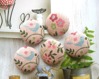 Handmade Country Pink Blue Bird Flowers Floral Fabric Covered Buttons, Pink Flower Floral Bird Small Fridge Magnets, 1.1 Inches 5's